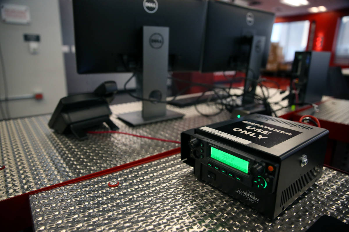 A dispatcher station that will be used by safety officials during the New Year's Eve celebratio ...