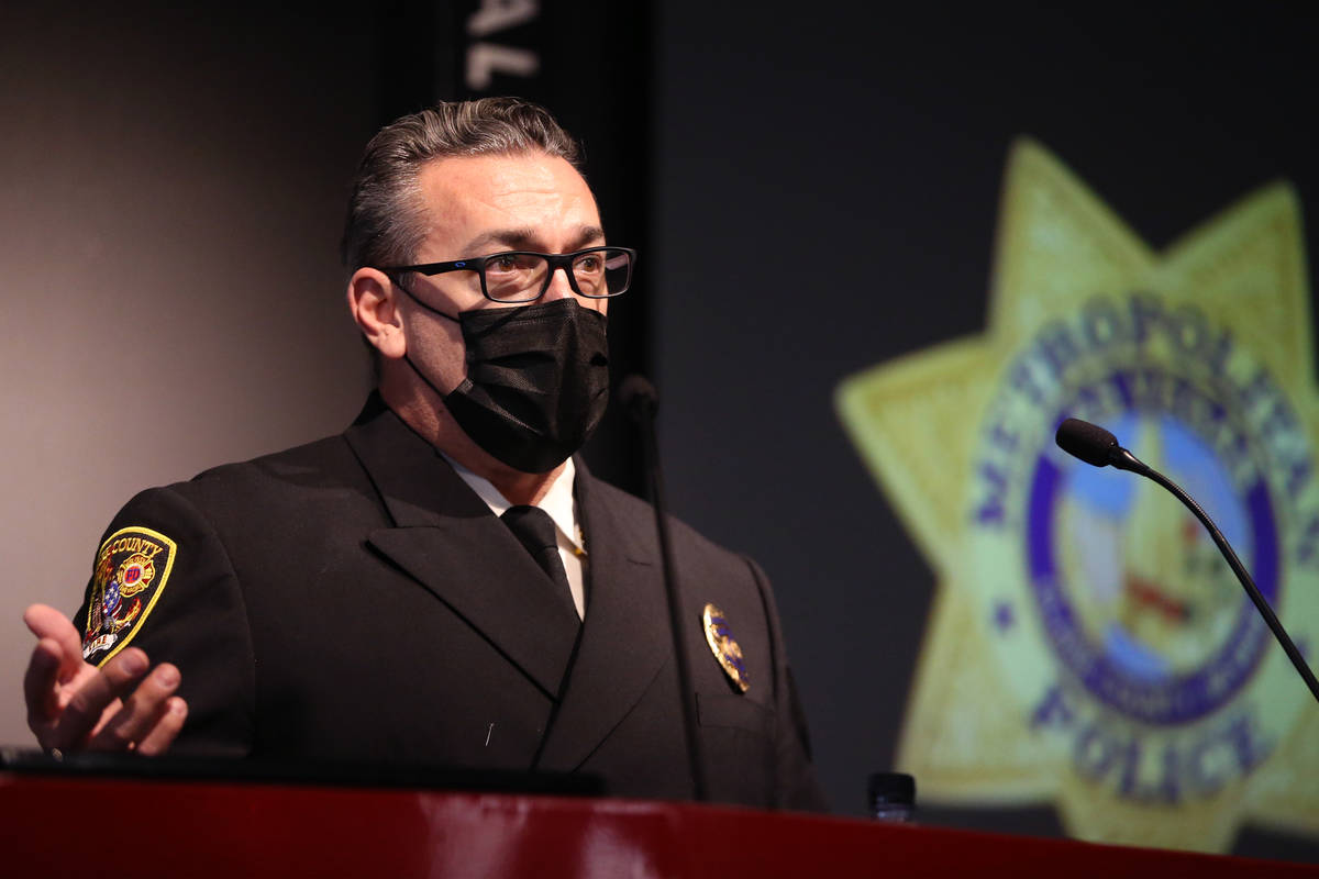 Clark County Fire Deputy Chief Warren Whitney speaks during a press conference to discuss New Y ...