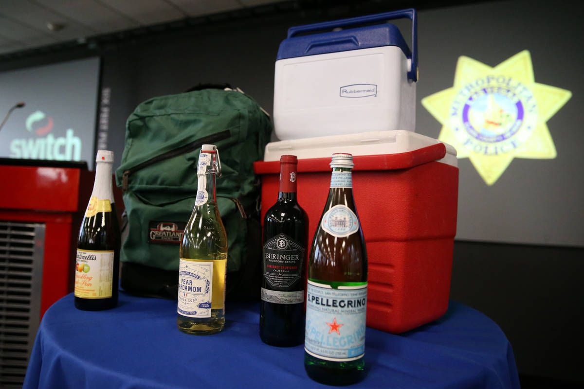 Examples of banned items are displayed during a press conference to discuss New Year's Eve cele ...