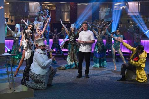 """Gordon Ramsay and performers from """"WOW: The Vegas Spectacular"""" at the Rio welcome to Las Vegas ..."""