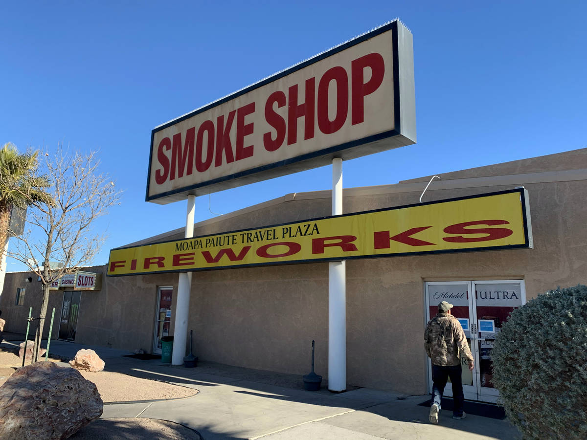 A fireworks sign is displayed at Moapa Paiute Travel Plaza in Moapa on Tuesday, Dec. 29, 2020. ...
