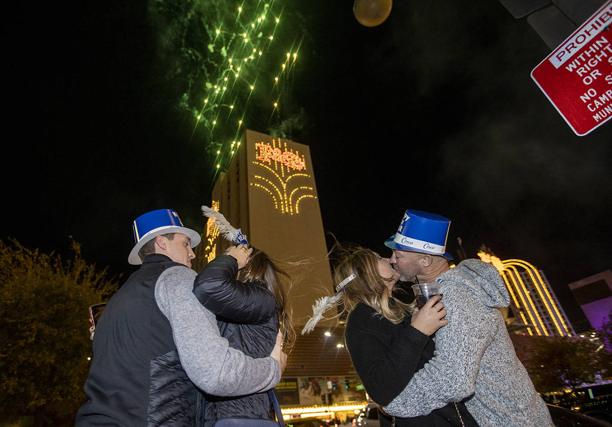 Fireworks erupt over the south tower of the Plaza at the start of New Years Day on Saturday, Ja ...