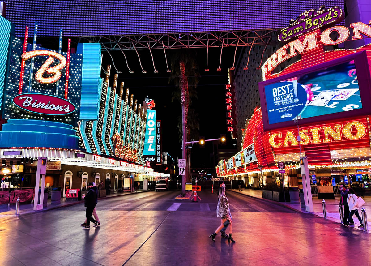 Revelers celebrate New Year's Eve at the Fremont Street Experience in downtown Las Vegas Thursd ...