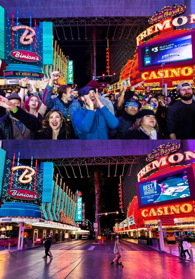 Top: New Year's Eve revelers at Fremont Street Experience on Dec. 31, 2019. Bottom: New Year's ...