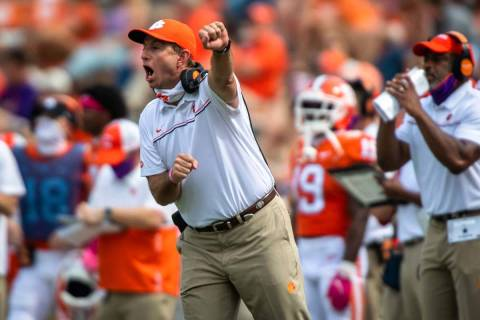 In this Oct. 24, 2020, file photo, Clemson head coach Dabo Swinney reacts on the sidelines duri ...