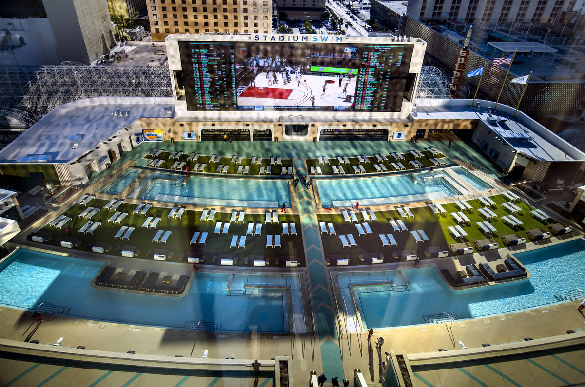 View of Stadium Swim from above in a Flex King Suite at Circa on Friday, Dec. 18, 2020, in Las ...