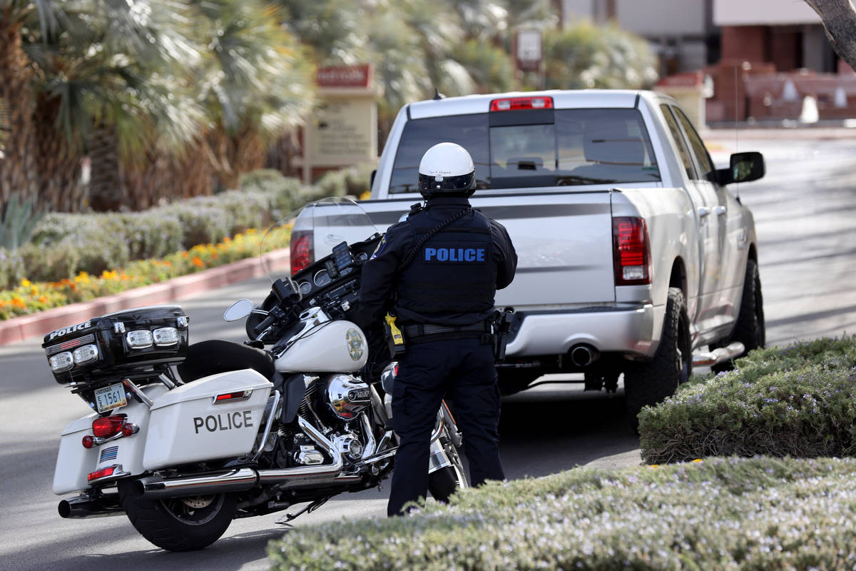A Clark County School District Police officer pulls over a motorist during an enforcement effor ...
