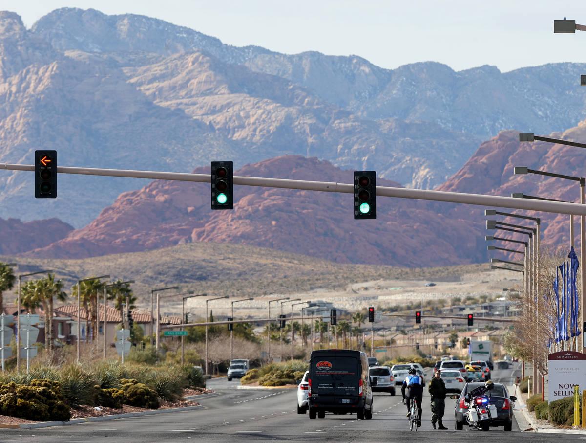 Las Vegas police officer M. Thiele pulls over a motorist during an enforcement effort on West C ...