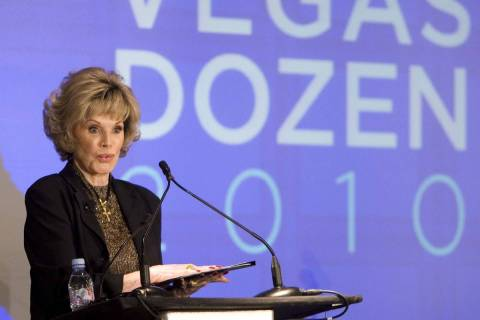 Mistress of ceremonies Phyllis McGuire speaks during the Saks Fifth Avenue presents the Vegas D ...