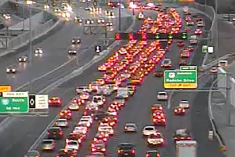 Traffic was delayed because of a single-vehicle crash on U.S. 95 near Rancho. (RTC traffic camera)