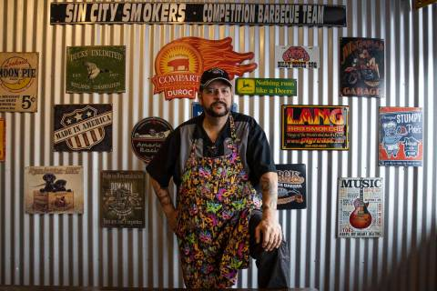 Steve Overlay, owner of Sin City Smokers Barbecue and Catering, poses for a photo at his Hender ...