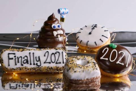 New Year-themed doughnuts at Pinkbox. (Pinkbox Doughnuts)