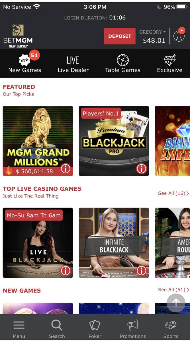 The homepage of MGM Resort International's BetMGM online casino mobile app in New Jersey. (MGM ...