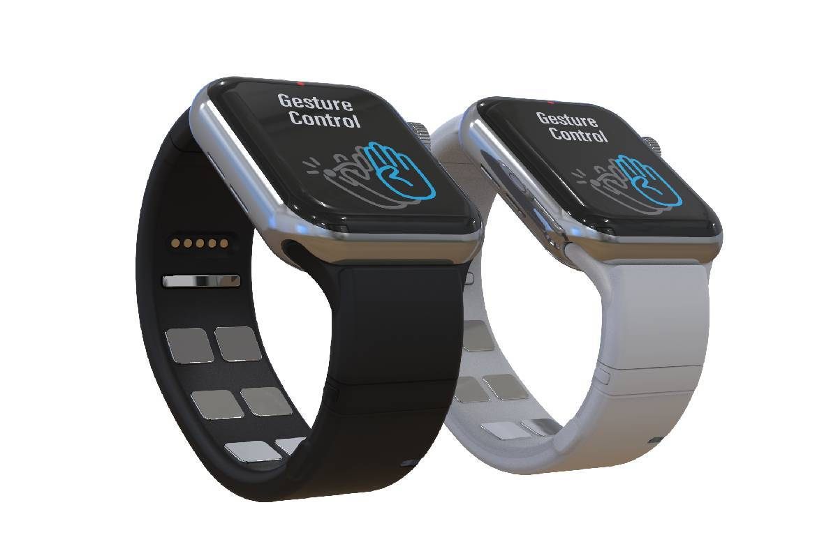 The Mudra Band allows wearers to control their Apple Watch just by moving their fingers. (Weara ...