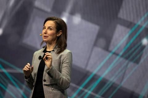 Emily Becher, senior vice president at Samsung Electronics, speaks during the Samsung Keynote e ...
