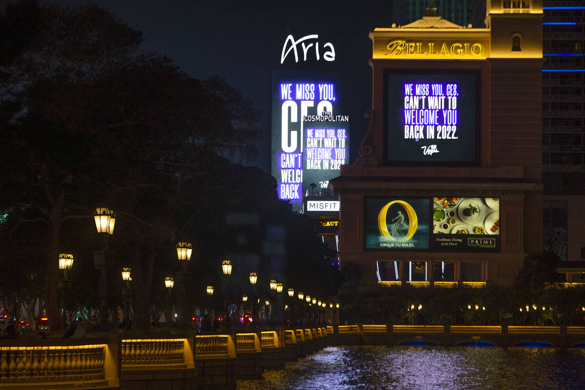 Marquees at Bellagio, Cosmopolitan and Aria memorialize CES, which would have started on Monday ...