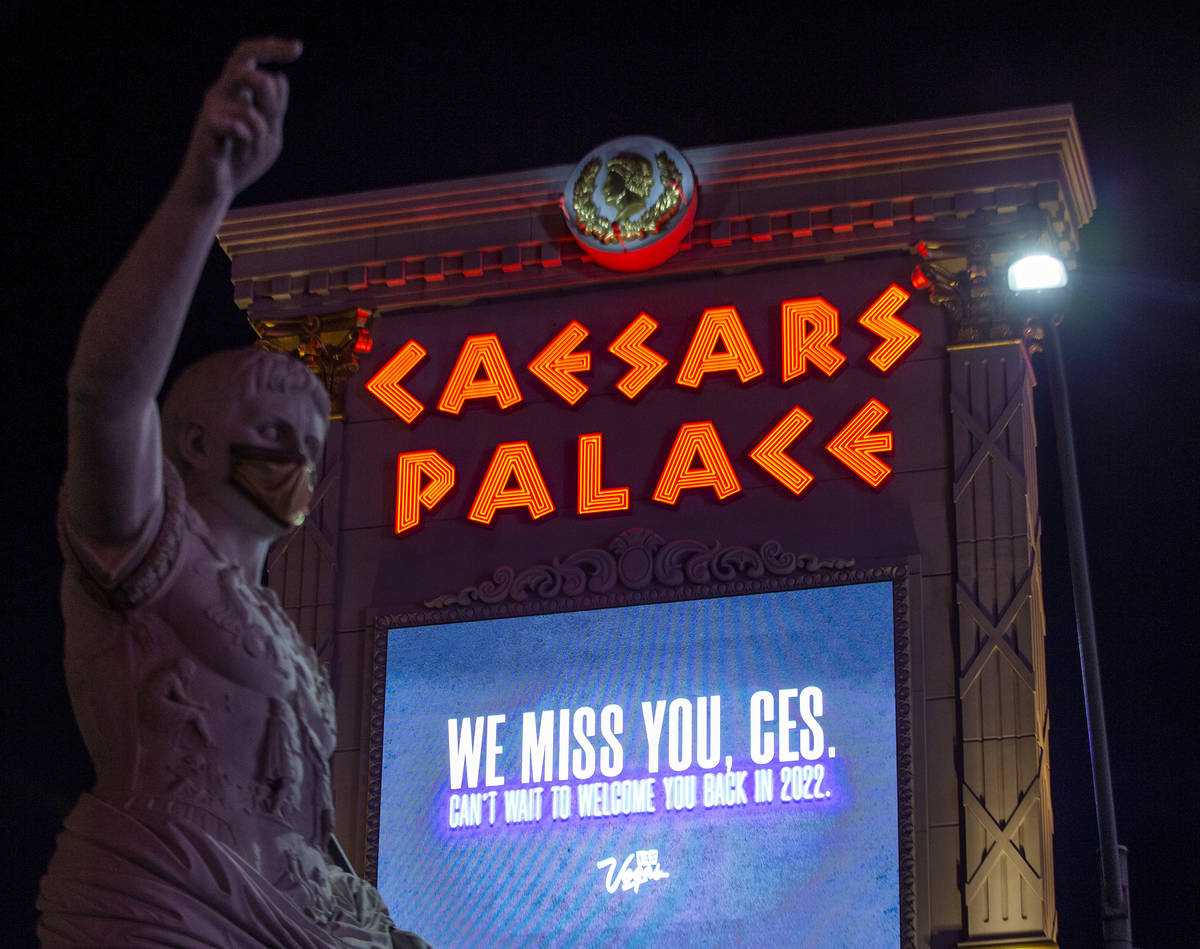 The marquee at Caesars Palace memorializes CES, which would have started on Monday but is moved ...