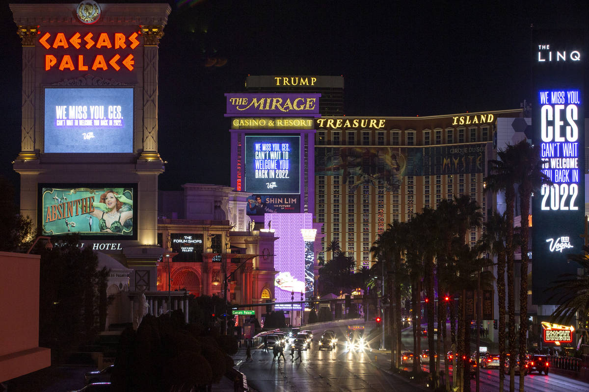 Marquees at Caesars Palace, The Mirage and The LINQ memorialize CES, which would have started o ...