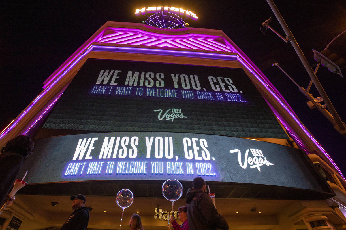 The marquee at Harrah's memorializes CES, which would have started on Monday but is moved onlin ...