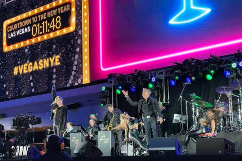Chris Phillips and Zowie Bowie during the New Year's Eve show and CBS broadcast at Stadium Sw ...