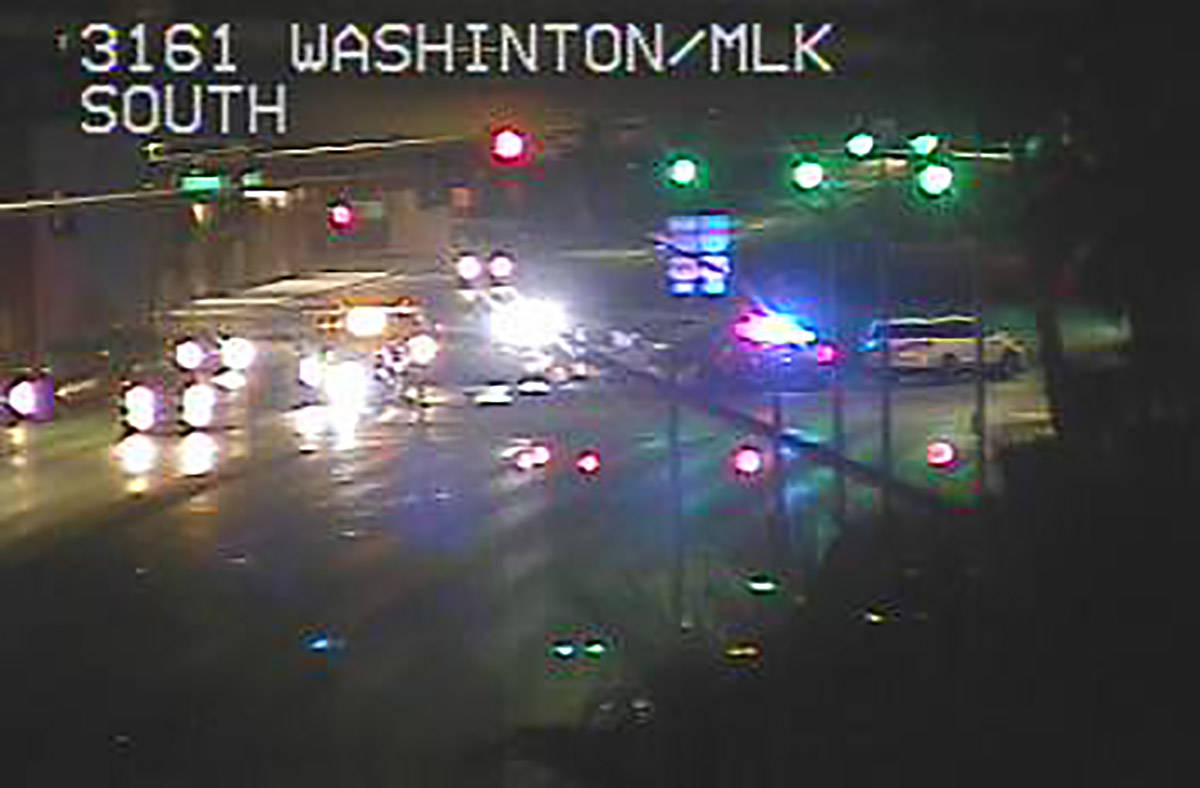 Police investigate an injury crash on Martin Luther King Boulevard and West Bonanza Road about ...