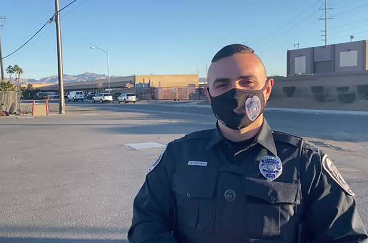 North Las Vegas police officer provides details about a fatal shooting early Friday, Jan. 1, 20 ...