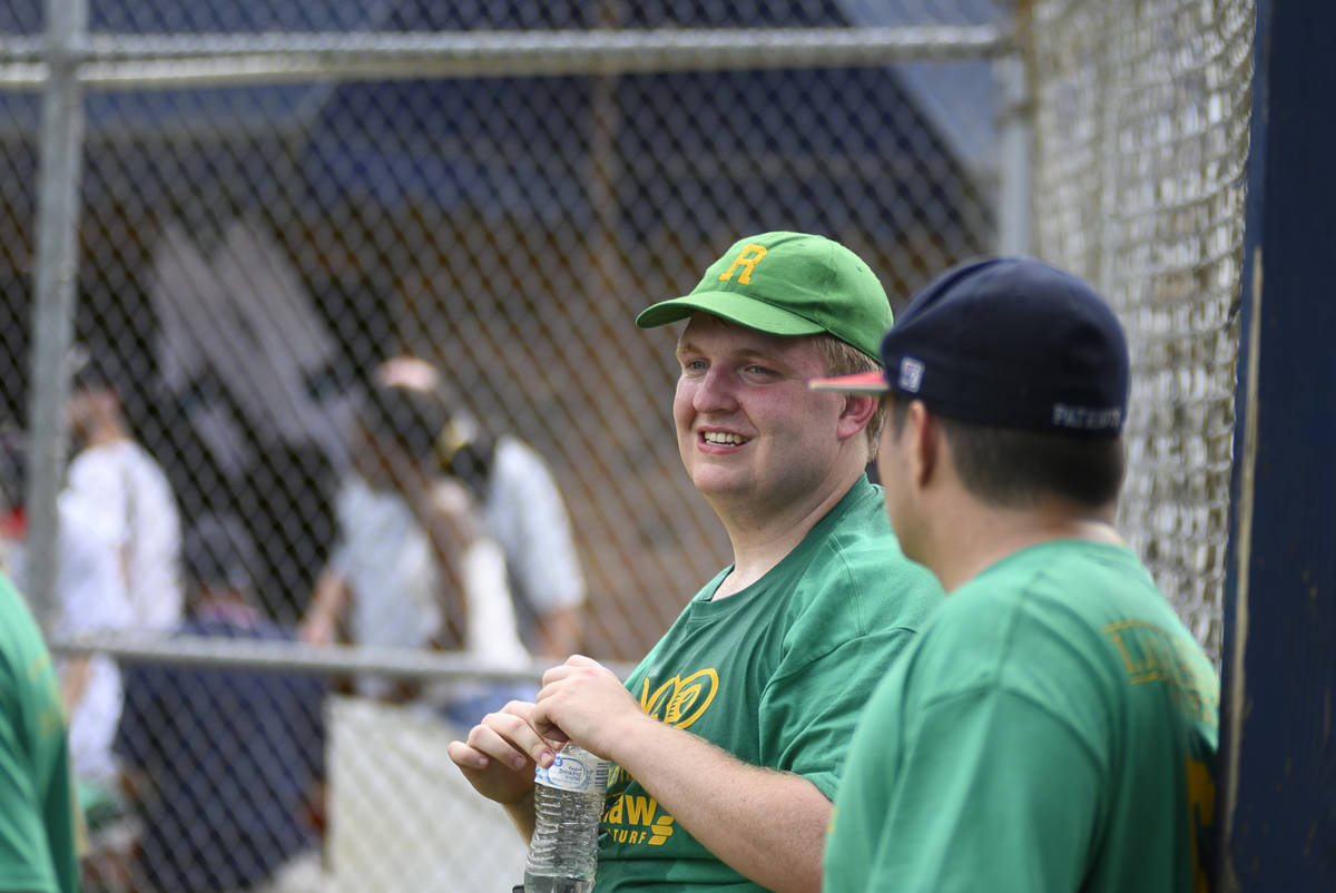 Taylor Duncan speaks with a teammate during an Alternative Baseball Organization game. Duncan p ...