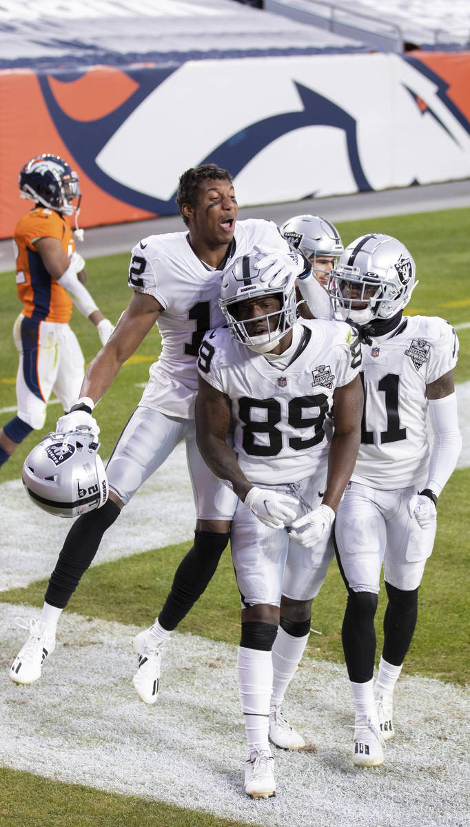 Raiders wide receiver Bryan Edwards (89) celebrates after scoring a touchdown in the second qua ...