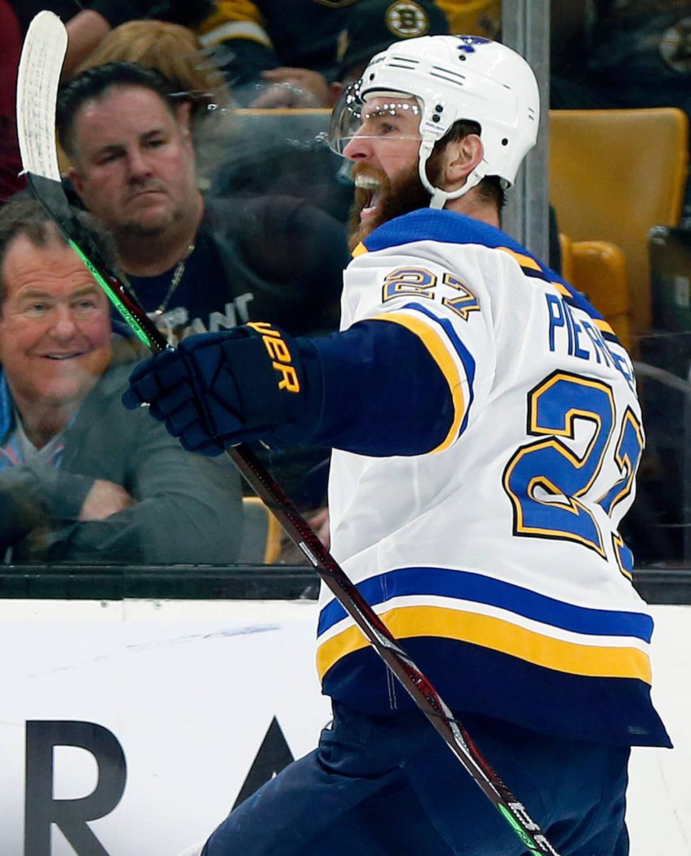 St. Louis Blues' Alex Pietrangelo celebrates his goal against the Boston Bruins during the firs ...