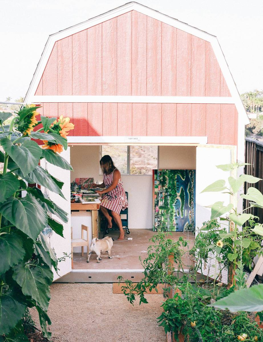 This homeowner uses her shed as an art studio. (Tuff Shed)