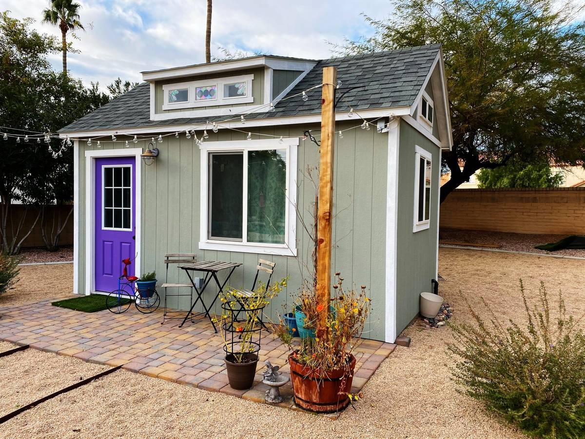 Sheds can be built to include windows, sliding doors, glass doors, shelving and ventilation. (T ...
