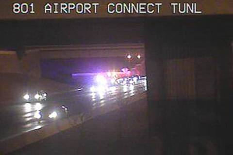 A crash early Monday, Jan. 4, 2021, in the airport connector tunnel was restricting traffic in ...