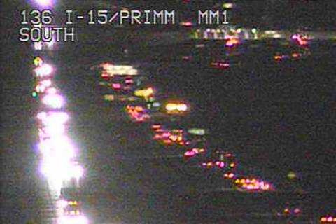 Heavy traffic headed southbound on Monday, Jan. 4, 2021, at Primm. (RTC Fast camera)