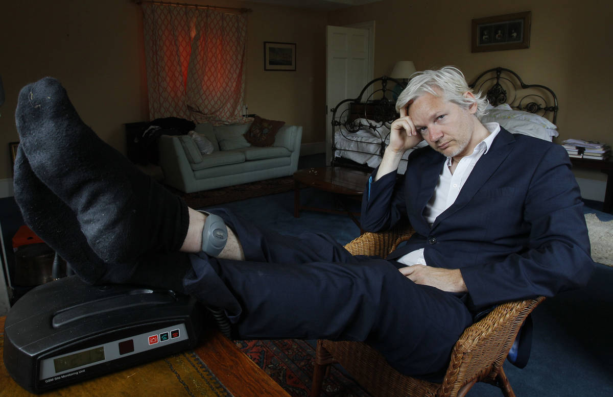 In this Wednesday, June 15, 2011, file photo, WikiLeaks founder Julian Assange is seen with his ...