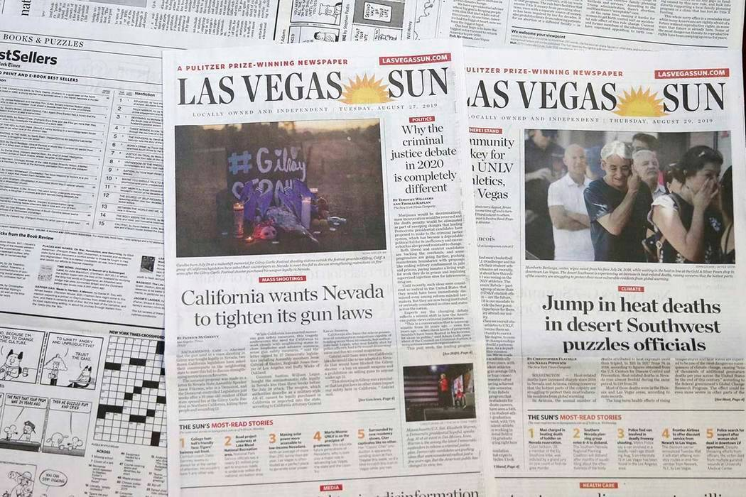 Las Vegas Sun newspapers photographed on Aug. 29, 2019. (K.M. Cannon/Las Vegas Review-Journal)