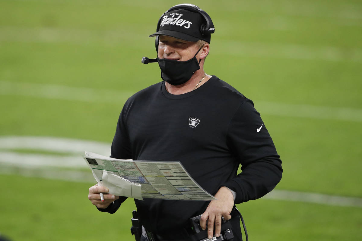 Las Vegas Raiders head coach Jon Gruden stands on the sidelines during the second half of an NF ...