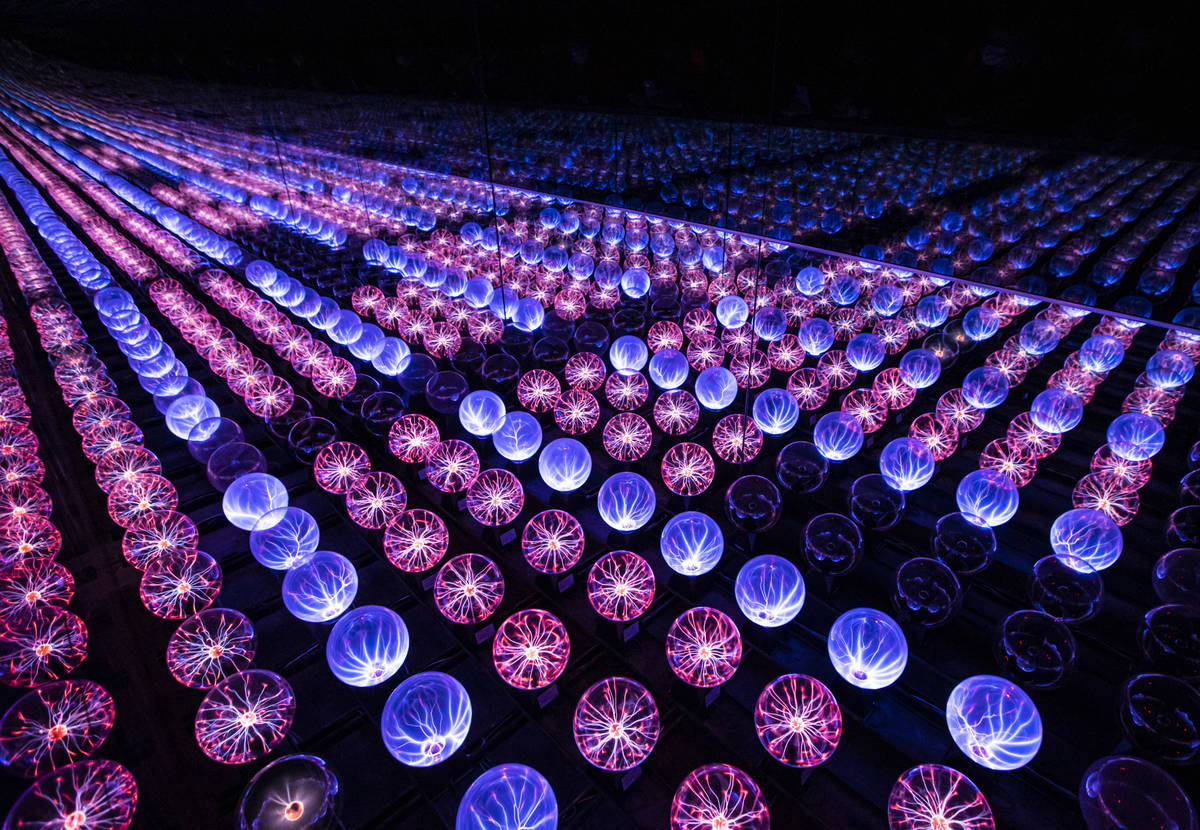 A view of the plasma ball infinity room during a tour of Wink World at Area15 in Las Vegas on T ...