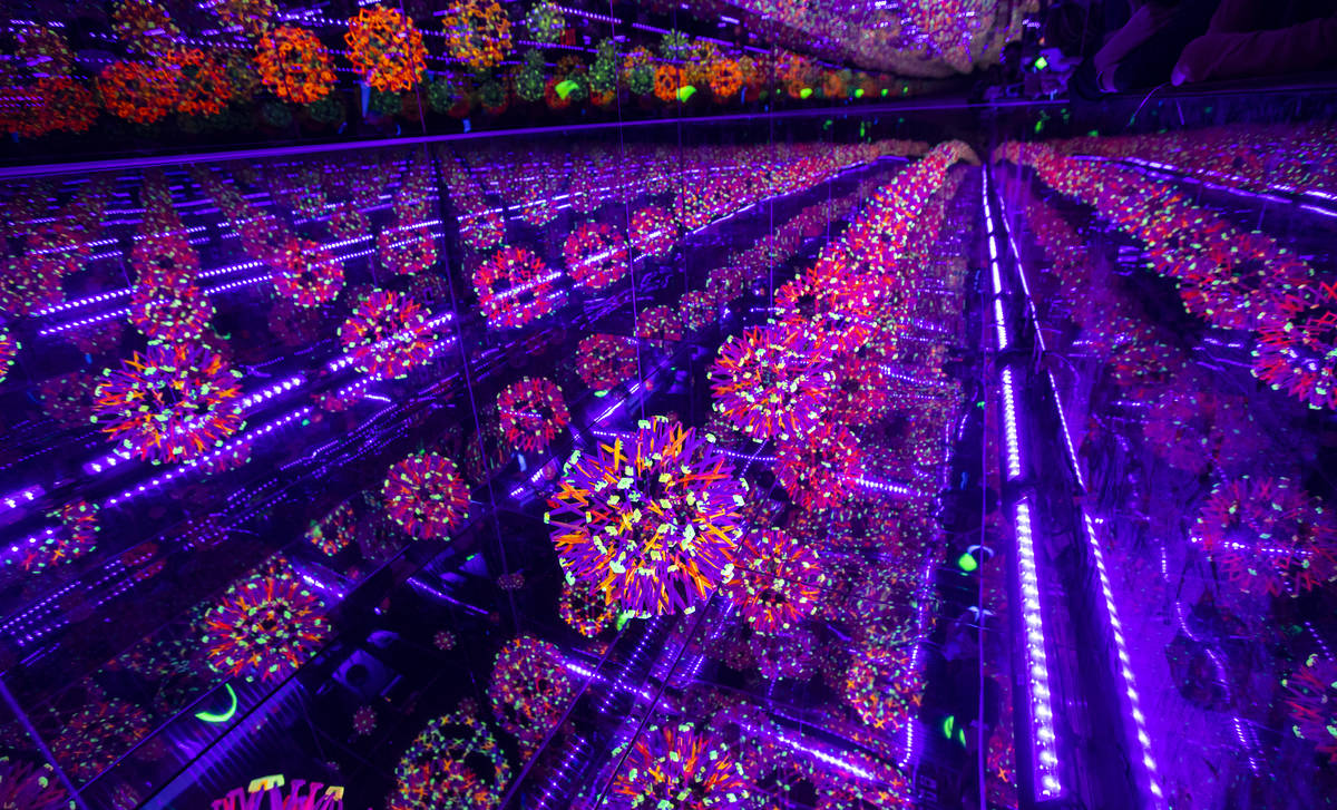 A view of the Hoberman sphere infinity room during a tour of Wink World at Area15 in Las Vegas ...