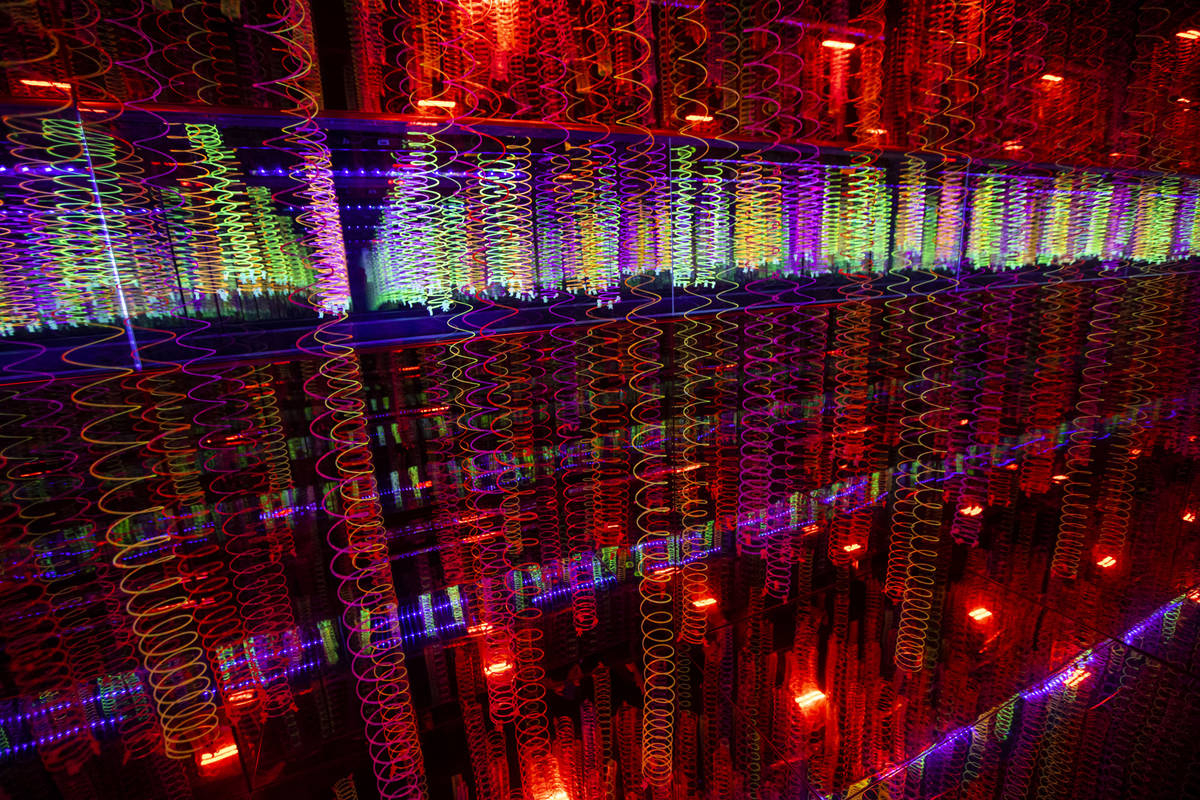 A view of the slinky infinity room during a tour of Wink World at Area15 in Las Vegas on Tuesda ...