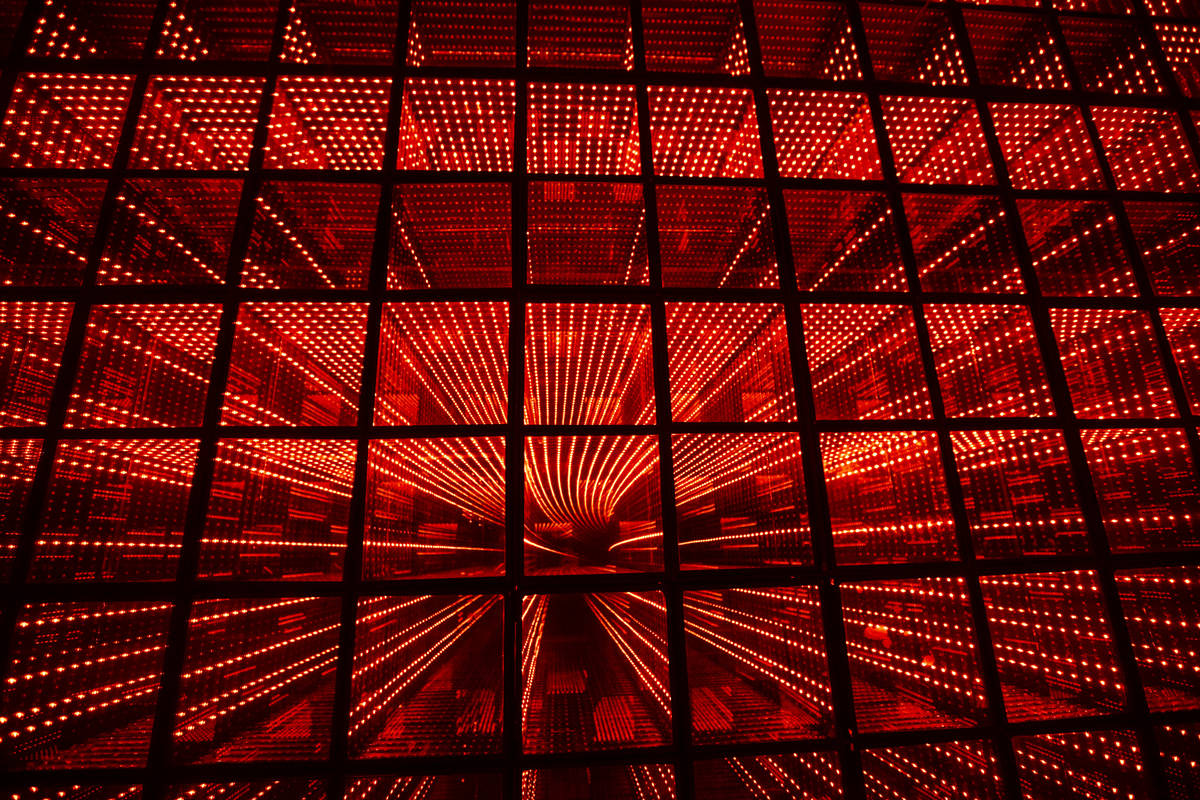 A view of the lightbox infinity room during a tour of Wink World at Area15 in Las Vegas on Tues ...