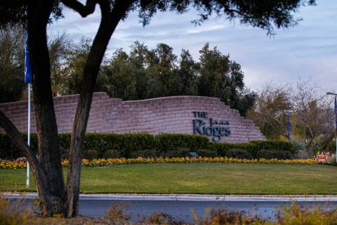 A sign for The Ridges, a luxury community in Summerlin in Las Vegas on Saturday, Jan. 2, 2021. ...