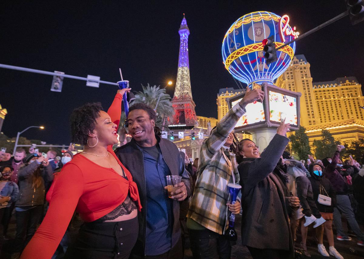 Revelers count down to 2021 on the Las Vegas Strip, Thursday, Dec. 31, 2020. (Elizabeth Page Br ...