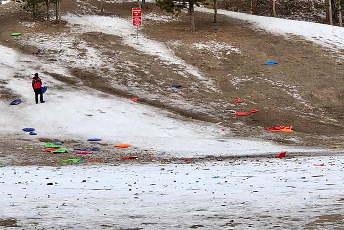 Plastic sleds and trash litter the sledding hills at Mount Charleston on Monday, Jan. 4, 2021. ...