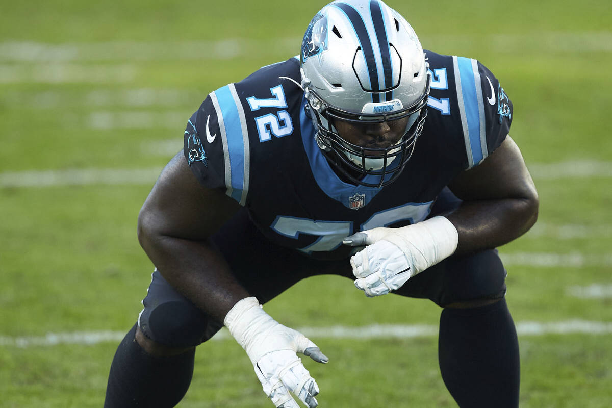 Carolina Panthers offensive tackle Taylor Moton (72) during an NFL football game against the De ...