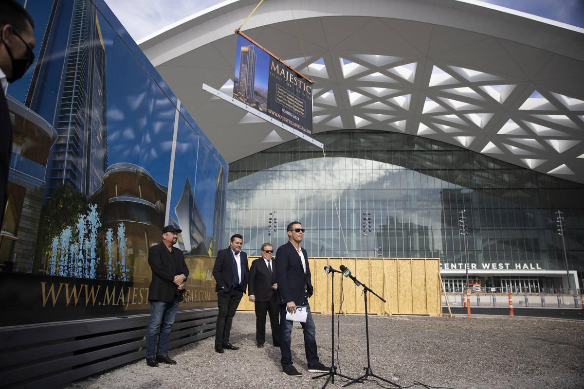 Developer Lorenzo Doumani speaks during a press conference regarding the Majestic Las Vegas res ...