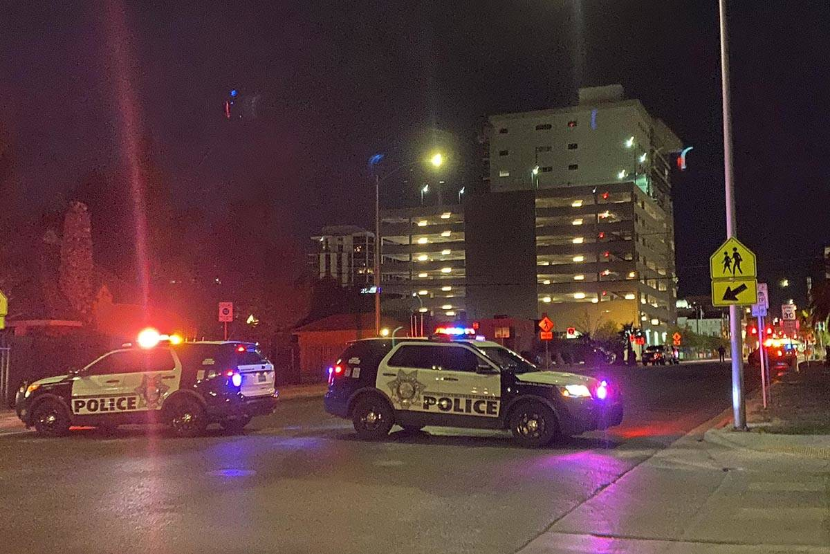 Las Vegas police have the intersection of Clark and 7th streets blocked off as officers investi ...