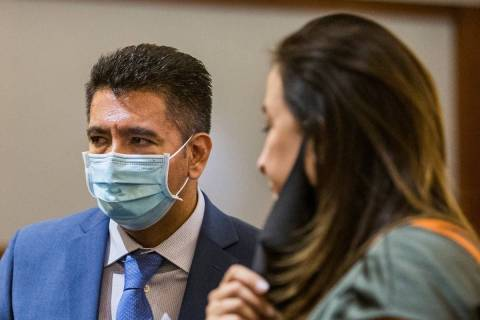 Defendant Adolfo Orozco leaves the courtroom with attorney Kristina Wildeveld during a prelimin ...