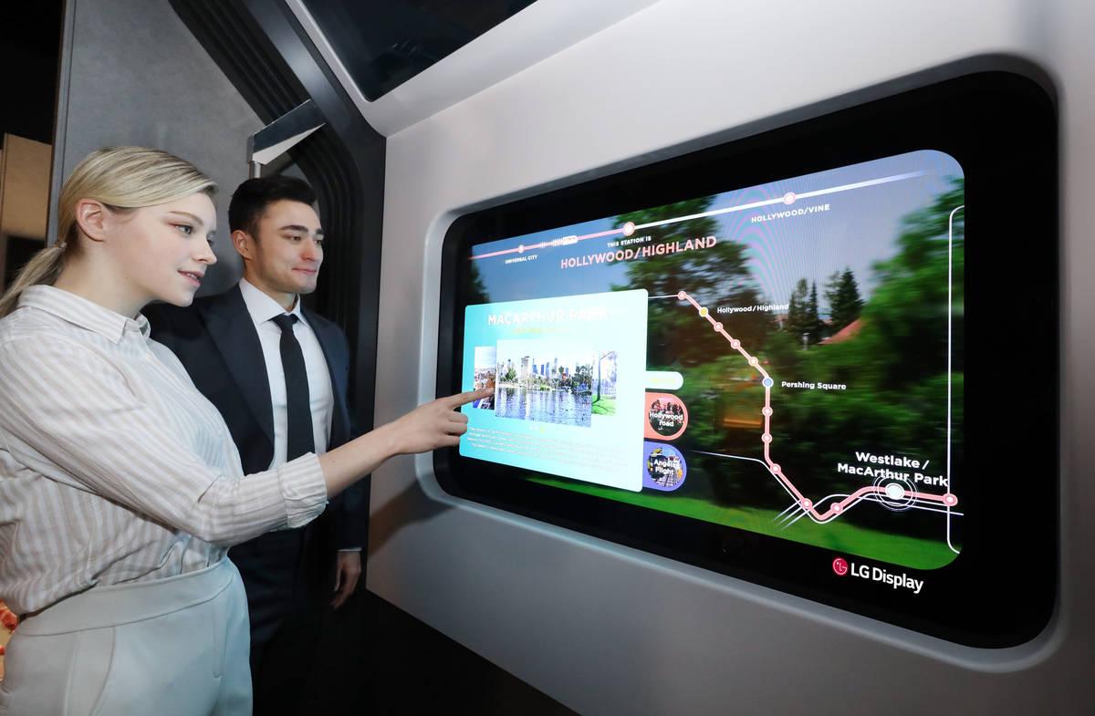 LG Display Transparent OLED on Subway Train. (Courtesy, LG Display)