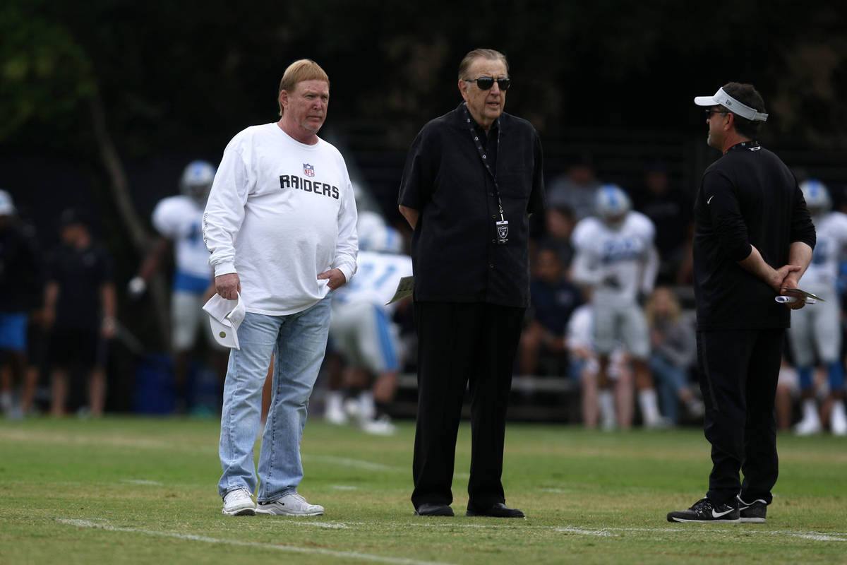 Oakland Raiders owner Mark Davis attends practice with Oakland Raiders play-by-play radio broad ...