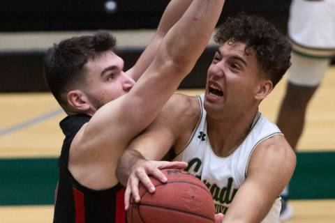 Colorado State guard Isaiah Rivera, right, shoots as UNLV forward Edoardo Del Cadia defends dur ...